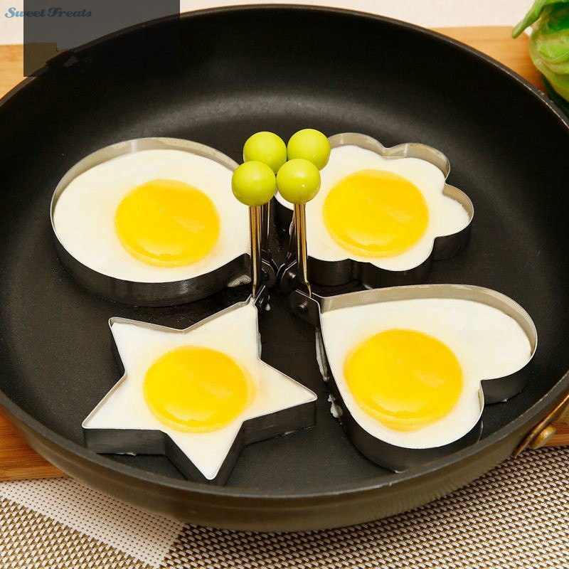 4pcs lot Egg Mold Stainless Steel Round Flower Heart Shape Omelette Mould Biscuit Frying Egg Rings