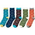 (5 Par/lote) los hombres de Moda de Lujo A Estrenar Desinger diamond gráfico Peinar calcetines de Algodón de Vestir de Negocios En Calcetines Para Hombre