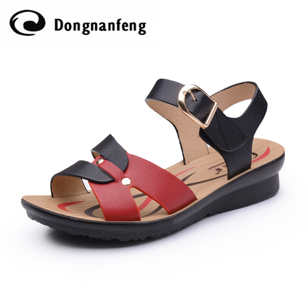 New Hot Fashion Women Shoes Flats Sandals Ladies PU Leather Summer Korean Rubber Beach Casual Wedges Back Starp Superstar DNF605 2017 new arrival hot sale fashion summer sweet women flats heel sandals pu leather casual buckle strap shoes for women 13 30
