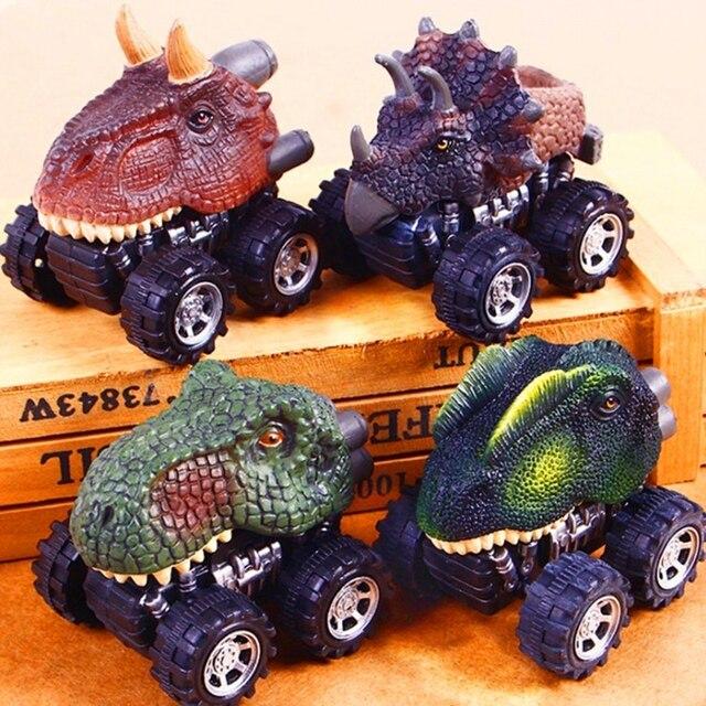 Offre spéciale Mini dinosaure voiture modèle enfants jouet dinosaure tirer arrière voiture jouet tyrannosaure voiture Action Figure jouets cadeaux de noël