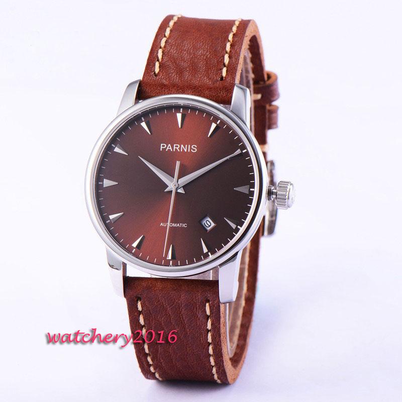 38 мм Parnis циферблат повседневное часы для мужчин стиль Деловые часы пояса из натуральной кожи сапфир серебристый корпус для мужчин автомати