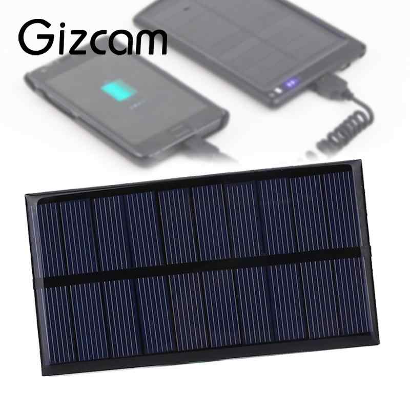 5 V 1 W 100mA Gizcam Polysilicon Panel Surya Portabel DIY Solar Power Cell Charger Modul untuk ponsel Perjalanan Luar charger