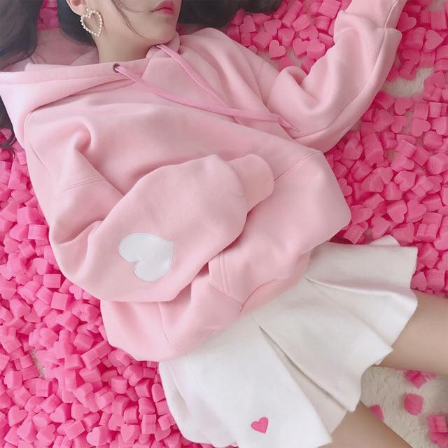 Cute Pink White Sweatshirt Hoodies Women Long Sleeve Heart