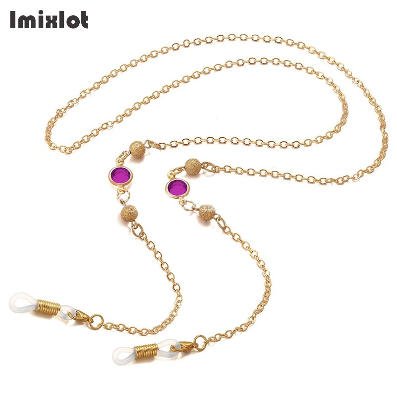 Imixlot Acrylic Stone Beaded Charm Gold Copper String Eyeglasses Chain Reading Glasses Metal Cords Sunglasses Spectacles Holders