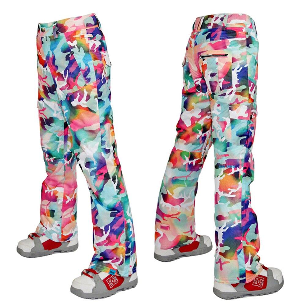 GSOU SNOW Brand Женские горнолыжные штаны камуфляж Лыжный спорт мотобрюки женский сноуборд брюки для девочек непромокаемые 10 к зимние уличные лыж