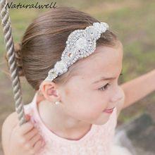 Naturalwell Baby Girls rhinestone headbands Hot sale Child kids diamante hair accessories Wedding jewelry ribbon for Girls HB421