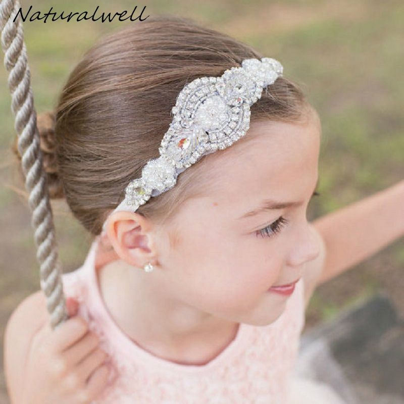 Naturalwell Baby Girls rhinestone headbands Hot sale Child kids diamante hair  accessories Wedding jewelry ribbon for 6932e45b640c