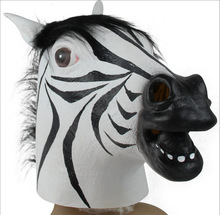 Zebra Cos Novelty Realistic Latex Horse Head Mask Fun Costume Halloween Interesting Funny Party Masquerade Masks