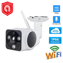цена на WiFi IP Camera Outdoor HD 1080P 2MP Wireless Security IP Camera Metal Two Way Audio TF Card Record P2P Mini CCTV Bullet Camera