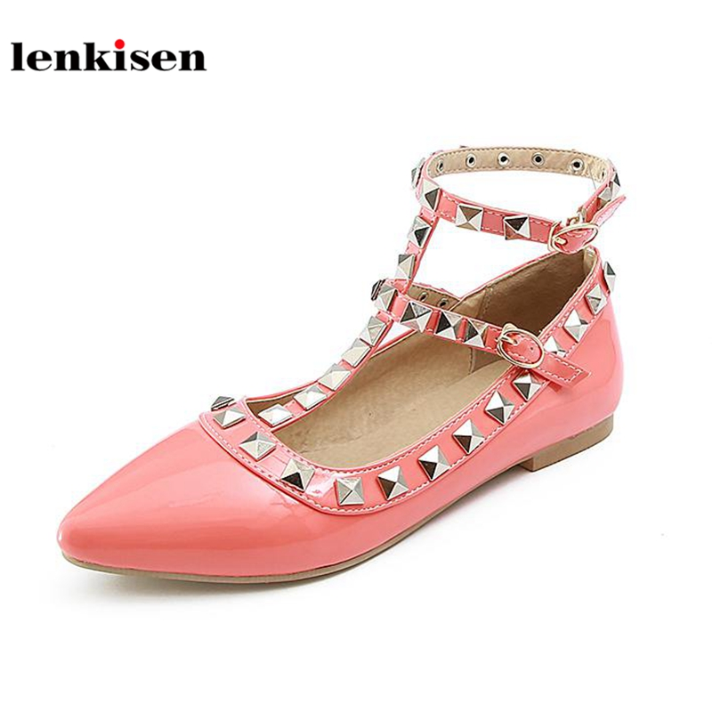 Lenkisen PU pointed toe ankle buckle straps causal shoes sweet princess style solid rivet decoration new fashion women flats L02