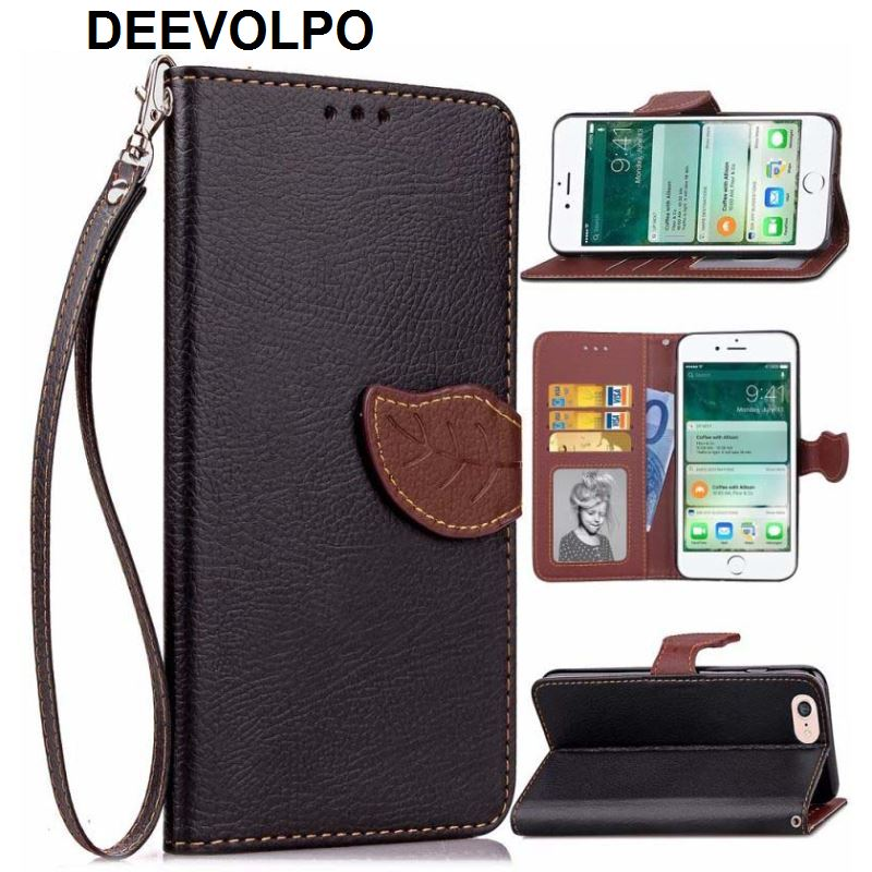 DEEVOLPO Case For iPhone X 8 7 6 6S Plus 5 5S SE 4 4S ipod 6 Tree pattern Leaf Style Wallet Cover Stand Phone Cases Cover DP05F