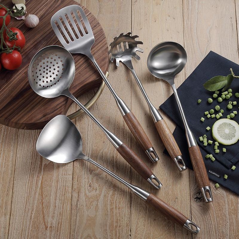 5Pcs Set Wood Handle Stainless Steel Cooking Tool Sets Spoon Turner Pasta Server Kitchenware Kitchen Utensil