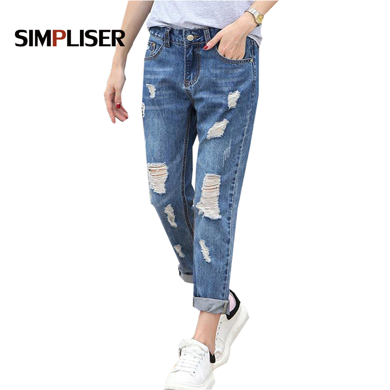 SIMPLISER Loose Jeans Pants Women 2018 Summer Fashion Hole Denim Blue Trousers Femme Plus Size Pantalon 26-32 Boy Friend Style