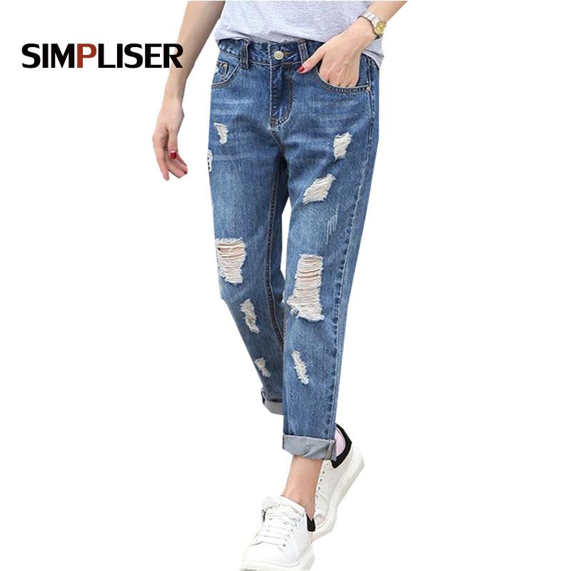 SIMPLISER Loose   Jeans   Pants Women 2018 Summer Fashion Hole Denim Blue Trousers Femme Plus Size Pantalon 26-32 Boy Friend Style