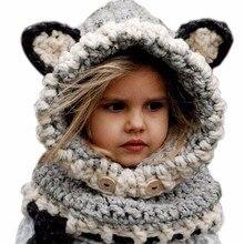Chaude 2016 De Mode D'hiver Chaud Enveloppe de Cou Renard Écharpe Casquettes Mignon enfants Laine Tricoté Chapeaux Bébé Filles Châles À Capuche Cowl Beanie Caps
