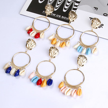 LEADERBEADS Girls Bohemian Multicolor Natural Shell Gold Alloy Circular Ear Circle Big Pendientes Earrings Summer Beach Jewelry