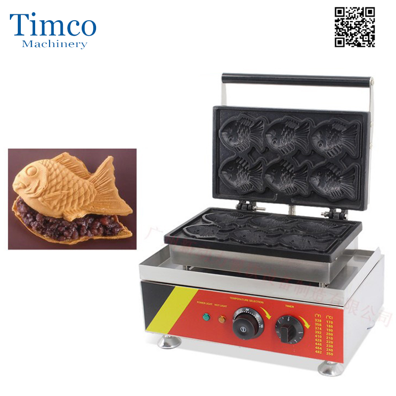 6 PCS Japanese Fish Waffle Commercial Use Non stick 110V/220V Electric Ice Cream Taiyaki Machine Maker Baker Iron