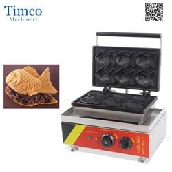 6 sztuk japoński ryb ryby komercyjne wykorzystanie non-stick 110 V/220 V elektryczna maszyna do lodów maszyna Taiyaki ekspres do Baker żelaza