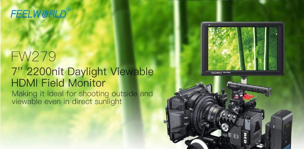 Feelworld FW279 7 Cal IPS 2200 nitów kamera Monitor zewnętrzny 4K HDMI wejście wyjście 1920X1200 Monitor LCD do DSLR stabilizator 1