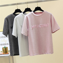 купить NiceMix 2019 summer wear bling t-shirt women with sequins letter round neck short bright o-neck tshirt girl gift new tops tee по цене 772.66 рублей