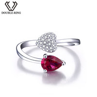 DOUBLE R Created Ruby Rose 925 Sterling Silver Rings Gemstone
