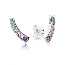 0798d3a76 Real 925 Sterling Silver Multi-Color Arches Pandora Original Stud Earrings  Clear CZ For Women Charm Bead Gift DIY Jewelry