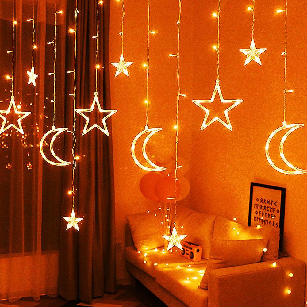 3.5m Star Moon Fairy LED Lamp Curtain String Lights Garland Wedding Decor