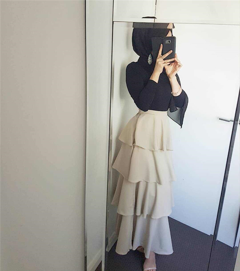 Longer Length Elegant Modest Muslim Cascading Ruffle Cake Style Islamic Skirts Female Ruffles Skirt Big Swing Long Skirts Wq1806