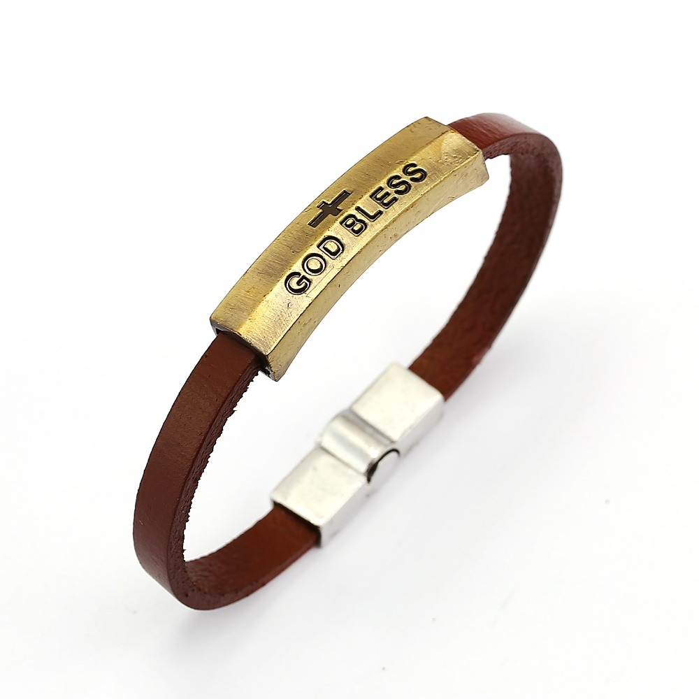Cool Man Fashion Copper Skull Bracelet Brown PU Leather Chain Bracelets Men Charm Bangle Jewelry