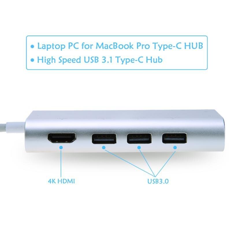 HUB USB multifunción tipo C 8 en 1 Hub USB-C con vídeo tipo C 4 K HD Gigabit RJ45 Ethernet Adaptador SD/TF lector de tarjeta - 2
