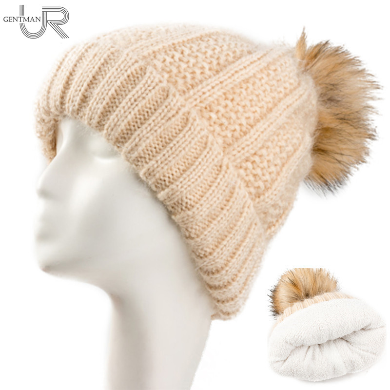New Add Fur Hat Women Yellow Ball Cap Pom Poms Winter Hat For Women Girls Hat Knitted Beanies Cap Thick Female Skullies Beanies 4pcs new for ball uff bes m18mg noc80b s04g