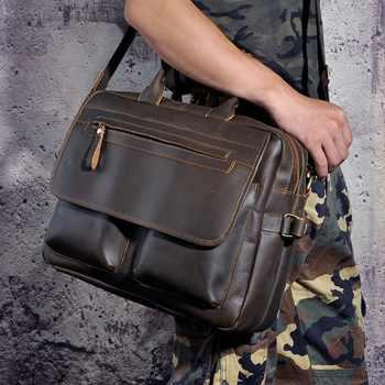 Men Leather Antique Designer Business Briefcase Laptop Document Case Commercia Portfolio Attache Shoulder Messenger Bag 2951-d