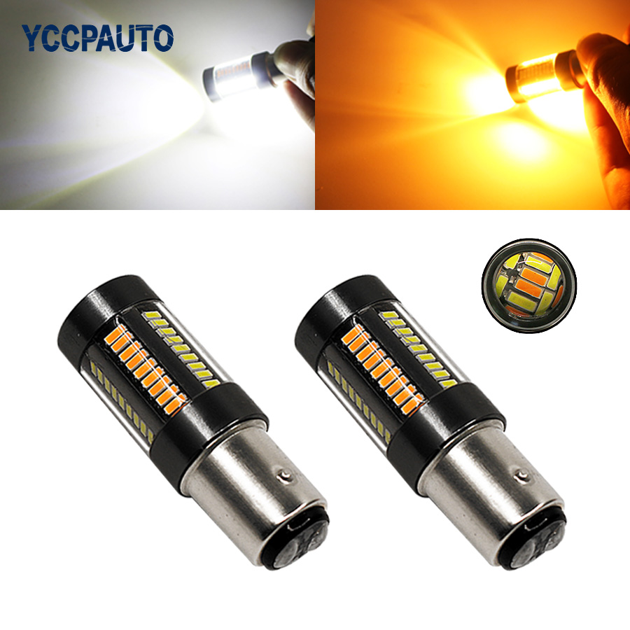 BAY15D 7443 Led Light White Golden 1157 Car Led Lights T20 Tail Brake Reverse Lamps 4014 66 SMD Bulb 12-24V 2Pcs/lot