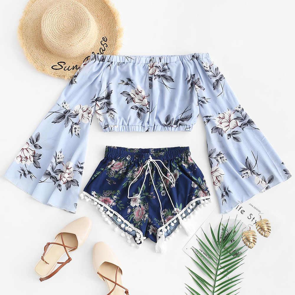 ZAFUL Conjunto de camiseta sin mangas y pantalones cortos con estampado floral para mujer