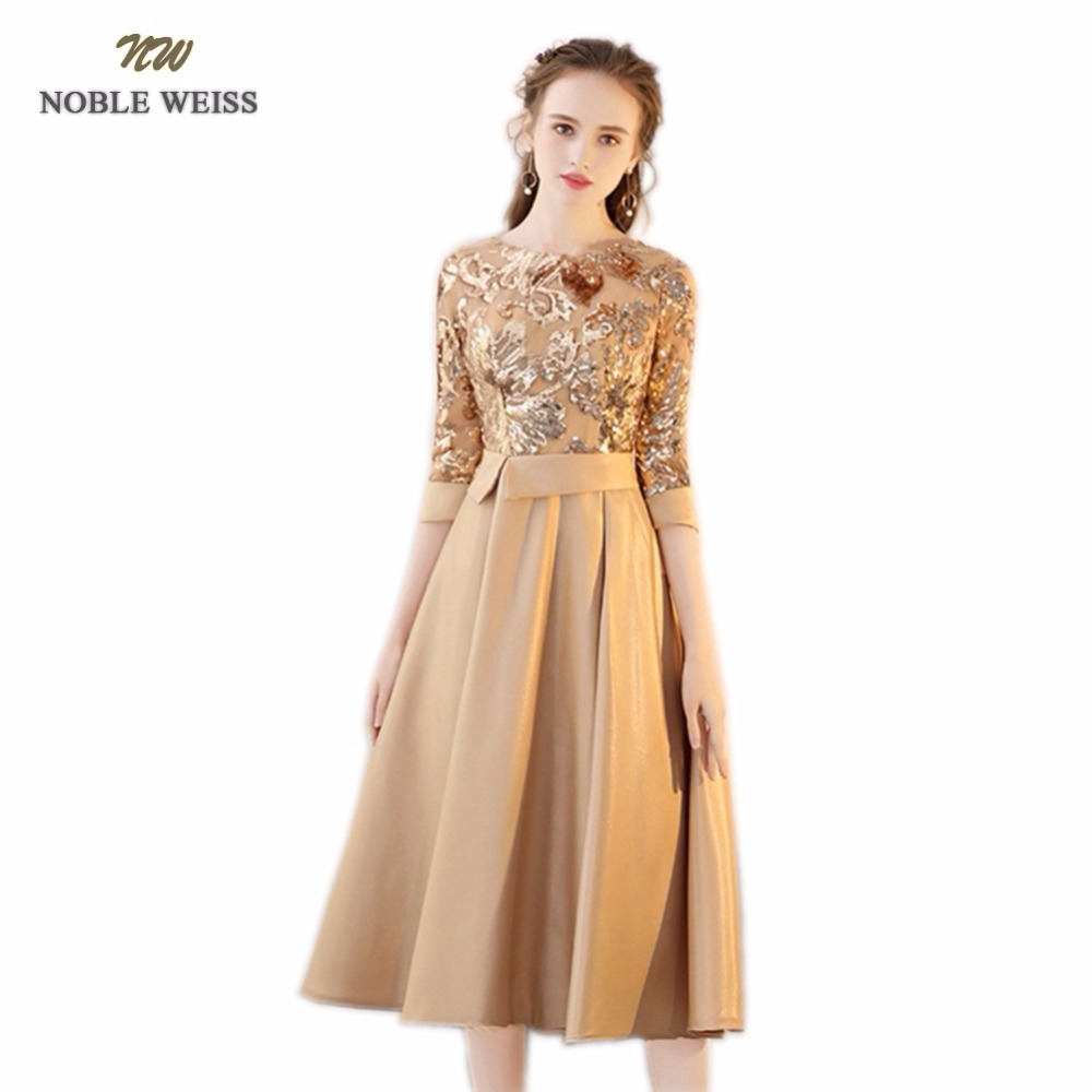 NOBLE WEISS Hot Sale Champagne Satin   Prom     Dresses   Sequined Robe De Soiree A-Line In Stock   Prom     Dress   With 3/4 Sleeves