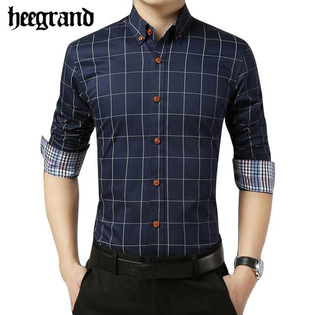 Hee grand 2017 primavera nuevo tamaño grande de la tela escocesa de los hombres camisa de manga larga de alta calidad da vuelta-abajo informal masculina camisas mcl1747