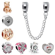 47467de921cc Btuamb Europea pequeña declaración amor corazón flor cristal cuentas Fit  Pandora encanto pulseras y brazaletes para las mujeres .