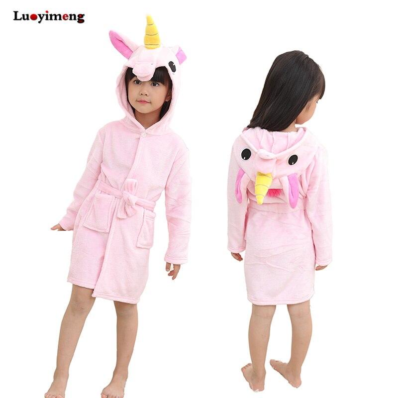 New Winter Anime Bathrobes Towel Unicorn Stitch Flannel Kids Bath Robes Sleepwear Pajamas Kawaii Girls Robe Home Clothes For Boy