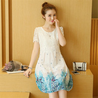Summer Printing Expectant Mother Casual Lace Dress Loose Maternity Dress Chiffon Stitching Pregnant Women Clothes