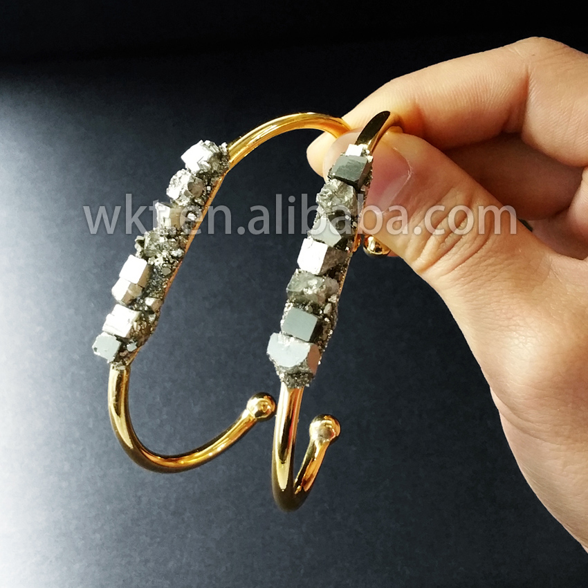 WT-B204 Wholesale fashion jewelry natural pyrite cuff bangles raw pyrite bracelet with 24k gold strim