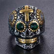 316L Stainless Steel men's Gothic gold Carving kapala Skull CZ Rhinestone Ring Biker Hiphop rock Jewelry For man(China)