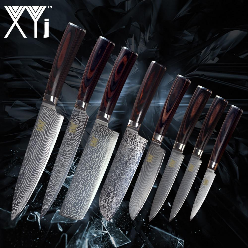 XYj juego de cocina de acero de Damasco cuchillos nueva llegada 2018 VG10 Core 8 piezas conjuntos japonés de acero de Damasco cocina accesorios de cocina herramienta