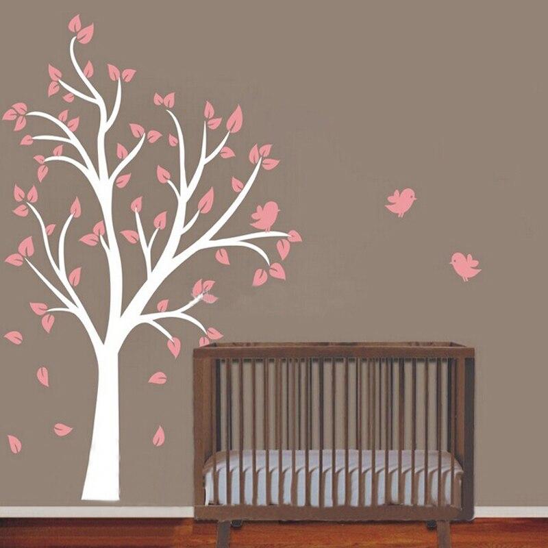 Boom Voor Babykamer.Roze Vogels Boom Muurstickers Vinyl Decals Art Meisjes Kwekerij