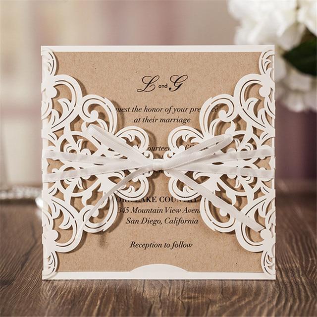 10sets Laser Cut Wedding Invitations Card Vintage Style Wedding
