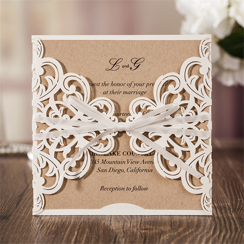 10sets Laser Cut Wedding Invitations Card Vintage Style Wedding Favors Party Paper Card Party Favors with Inner Page
