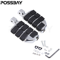 POSSBAY Pair Chrome Black Highway Motorcycle Foot Pegs Footrest Engine Guard Mounts Clamps For Harley Davidson