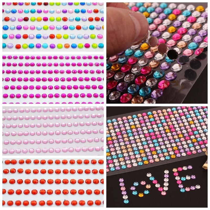 1040pcs/set 3mm DIY Self Adhesive Decal Phone PC Art Bling Crystal Acrylic Rhinestone Scrapbooking Stickers Wall Car Sticker