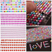 1040pcs/set 3mm DIY Self Adhesive Decal Phone PC Art Bling Crystal Acrylic Rhinestone Scrapbooking Stickers Wall Car Sticker