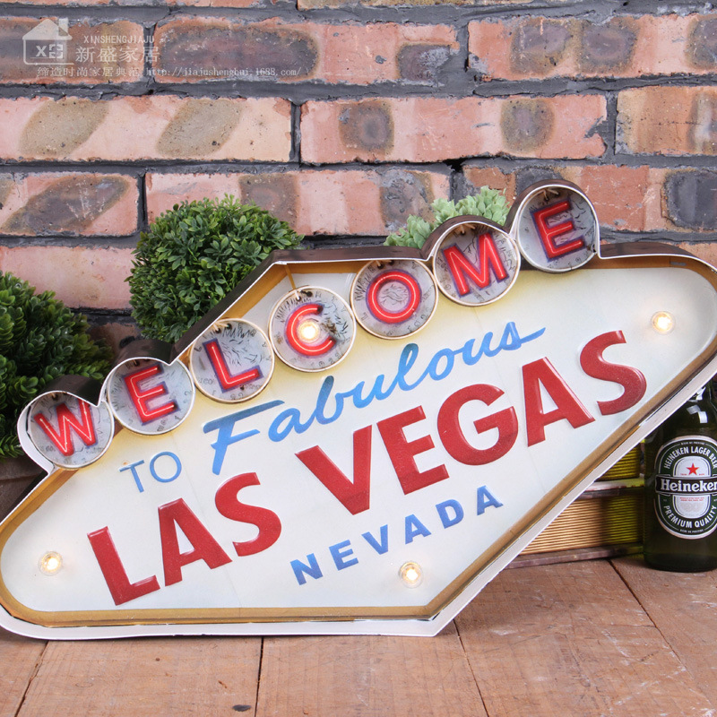 Las Vegas style Decoration Metal Painting Neon Welcome