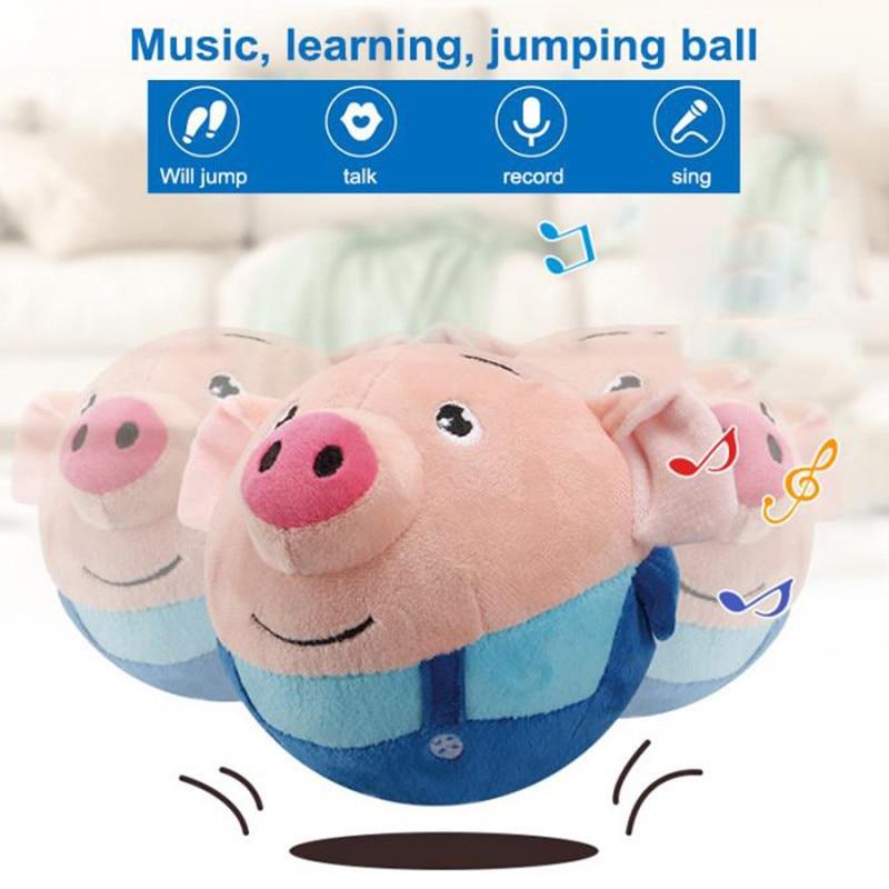 Children Cartoon Ball Electric Toys Jump Ball Beating Sing Jump Baby Kids Gift Music Recording Plush Toys
